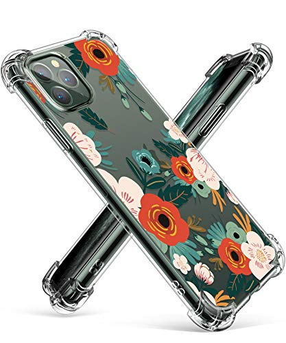 GVIEWIN Compatible with iPhone 11 Pro Case, Clear Flower Design Soft & Flexible TPU Ultra-Thin Shockproof Bumper Protective Cover for iPhone 11 Pro 5.8 Inch 2019,Flowering/Reseda Green