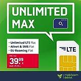 Handyvertrag o2 Free Unlimited Max - Unlimitierte Internet Flat, Allnet Flat Telefonie & SMS in alle Deutschen Netze, EU-Roaming, 24 Monate Laufzeit
