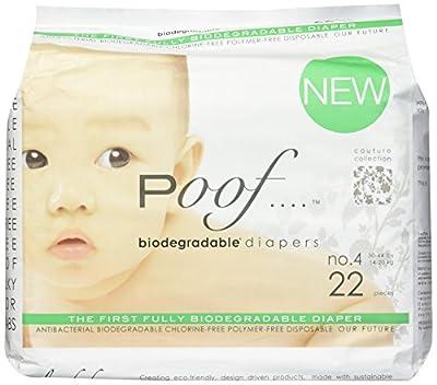 poof PF3300101 Biodegradable Antibacterial Disposable Diapers, 33 Count
