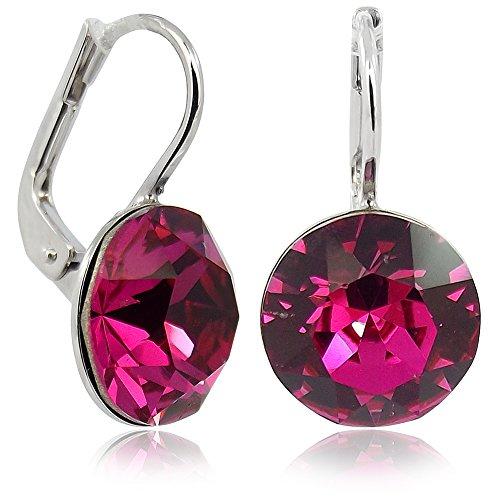 Ohrringe Pink mit Kristallen von Swarovski Silber NOBEL SCHMUCK