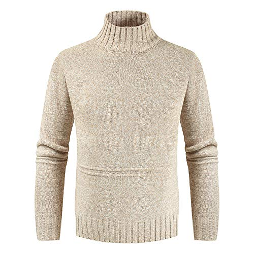 Mens Turtleneck Sweater Casual Ribbed Slim Fit Knitted Jumper High Roll Neck Basic Turtleneck Warm Pullover XXL