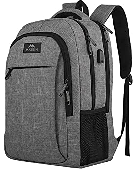 Matein Travel Laptop Backpack Business Anti Theft Slim Durable Laptops Backpack with USB Charging Port Water Resistant College School Computer Bag Gifts for Men & Women Fits 15.6 Inch Notebook Grey