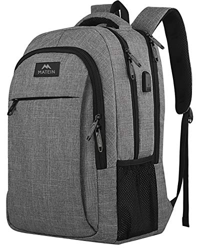 Travel Laptop Backpack, Business Anti Theft Slim Durable Laptops Backpack with USB Charging Port, Water Resistant College School Computer Bag Gifts for Women & Men Fits 15.6 Inch Notebook, Grey