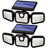 Solar Security Outdoor,3 Adjustable Heads 74 LED Solar Motion Sensor Lights,IP65 Waterproof Wireless Solar Flood Light for Porch Yard Garage Pathway and More.(2 Pack)