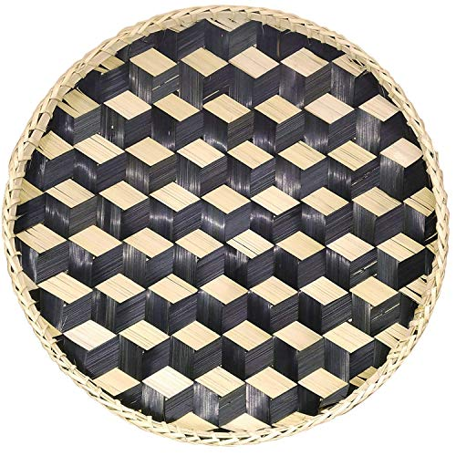 Made Terra Bandeja de Cesta Tejida de bambú Bandeja Decorativa de Madera rústica para Desayuno, Bebidas, refrigerios, Mesa de café, decoración del hogar (Redonda - Negra)
