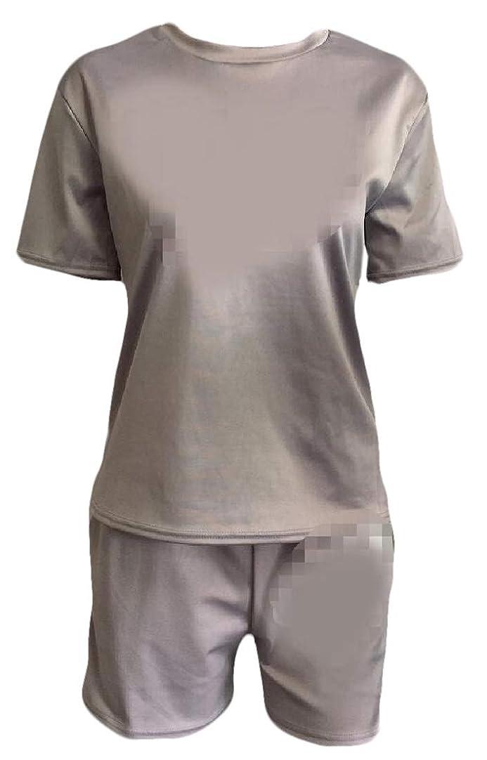 弾力性のある致命的社員女性のトラックスーツ2ピースアウトフィット半袖Tシャツトップとショーツセット
