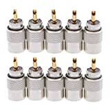 QFDM Conectores Tapones de Conector de Soldadura Masculina de 10 PCS para Cable coaxial coaxial Conector de precisión (Package : 10 19Pcs)