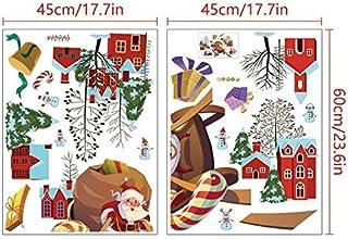 SGJFZD Merry Christmas PVC Removable Santa and Sleigh Wall Sticker Decorative Sticker for Window Door Glass Wall Home Deco...