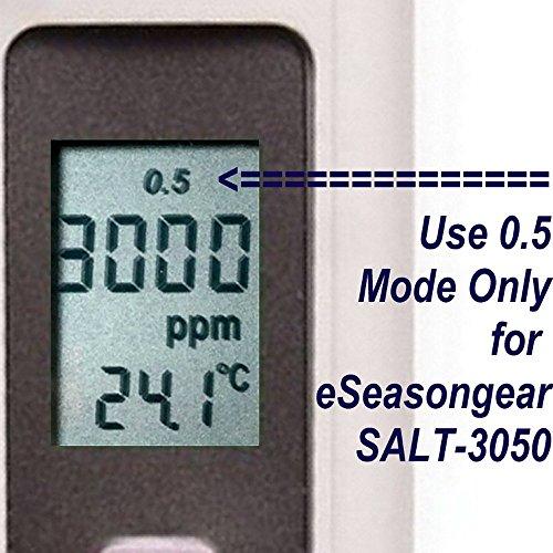 eSeasonGear SALT-3050 Waterproof IP65 Meter, Digital Salinity PPM Temperature Tester for Salt Water Pool and Koi Fish Pond