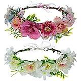 Cinta para el Cabello de Corona de Flores, Taumie 2 Pcs Ajustable Hecha a Mano Diadema Floral, Novia Corona Accesorios para el Cabello, Mujer o Niñas para Boda Fiesta de Cumpleaños Guirnalda Floral