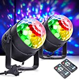 MICTUNING Luces de Bola de Discoteca,Actualización 6W 6 Colores,Luz Estroboscópica Luces de DJ Control Luces de Fiesta Activadas,Música para Cumpleaños Fiestas en Casa Pub (paquete de 2)