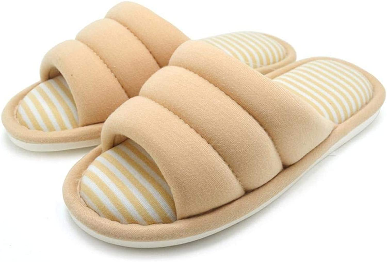 GouuoHi Womens Slippers Ladies Cotton shoes Simplicity All Seasons Indoor Home Slippers of Soft Cotton Slippers for Women Pink Yellow