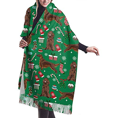Cathycathy Irish Set rode mantel kerstkousen sneeuwvlokken groene sjaal wikkelen winter warme sjaal gordijn grote zachte sjaal wikkelen