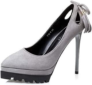 KTYXDE High Heel Tassel Work Shoes High Heels Single Shoes High Heels 12CM 4 Colors Women's Shoes (Color : Gray, Size : EU36/UK4/CN36)