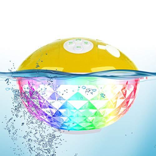 Uekars tragbarer Bluetooth Lautsprecher, IPX7 wasserdichter kabelloser Lautsprecher mit Buntem Licht, eingebautes Mikrofon, Duschlautsprecher-Spieluhr für Party Pool Jacuzzi Travel Camping (Gelb)
