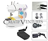 Creatif Ventures Mini Desktop Multi Functional Portable 4-in -1 Sewing Machine with Adapter, Focus Light and Automatic Foot Pedal