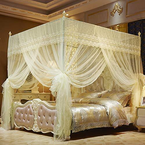 GroßEs Moskitonetz 4 Eck Prinzessin Bett Raumdekoration FüR Kinder MäDchen Einzel Doppelbett, Keine Hautreizung, 3 TüR,Yellow,1.2 * 2M