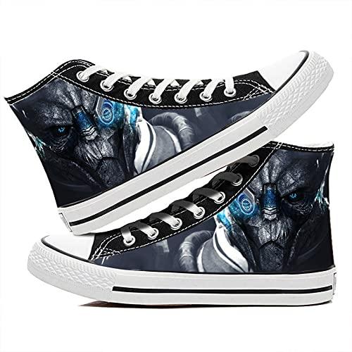 LaoSong Unisex Adultos Zapatos Alien Warrior Cosplay Anime Lienzo Zapatos Zapatillas de Deporte Gris (Color : Azul, Size : Male US 8/UK 7/255MM)