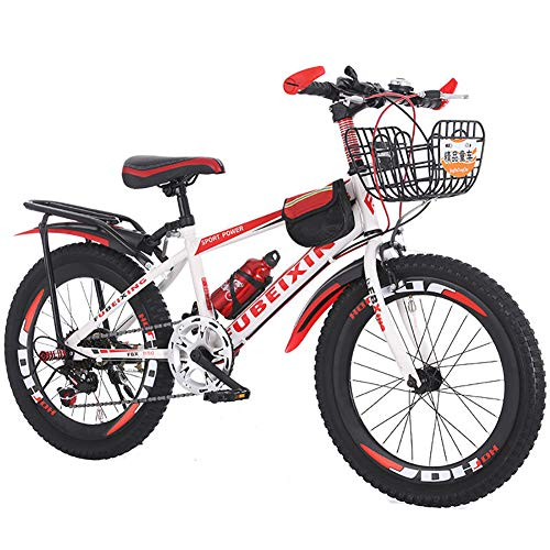 LINGYUN 18/20/22 Inch BMX Bike for Kids Variable Speed Mountain Bike, Carbon Steel Frame and Dual Brakes, with Protective Gear and Helmet,White red,18in