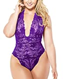 Lingerie for Women Plus Size, Halter Lace Bodysuit Sexy One Piece Plunging Teddy (Purple, 2XL)