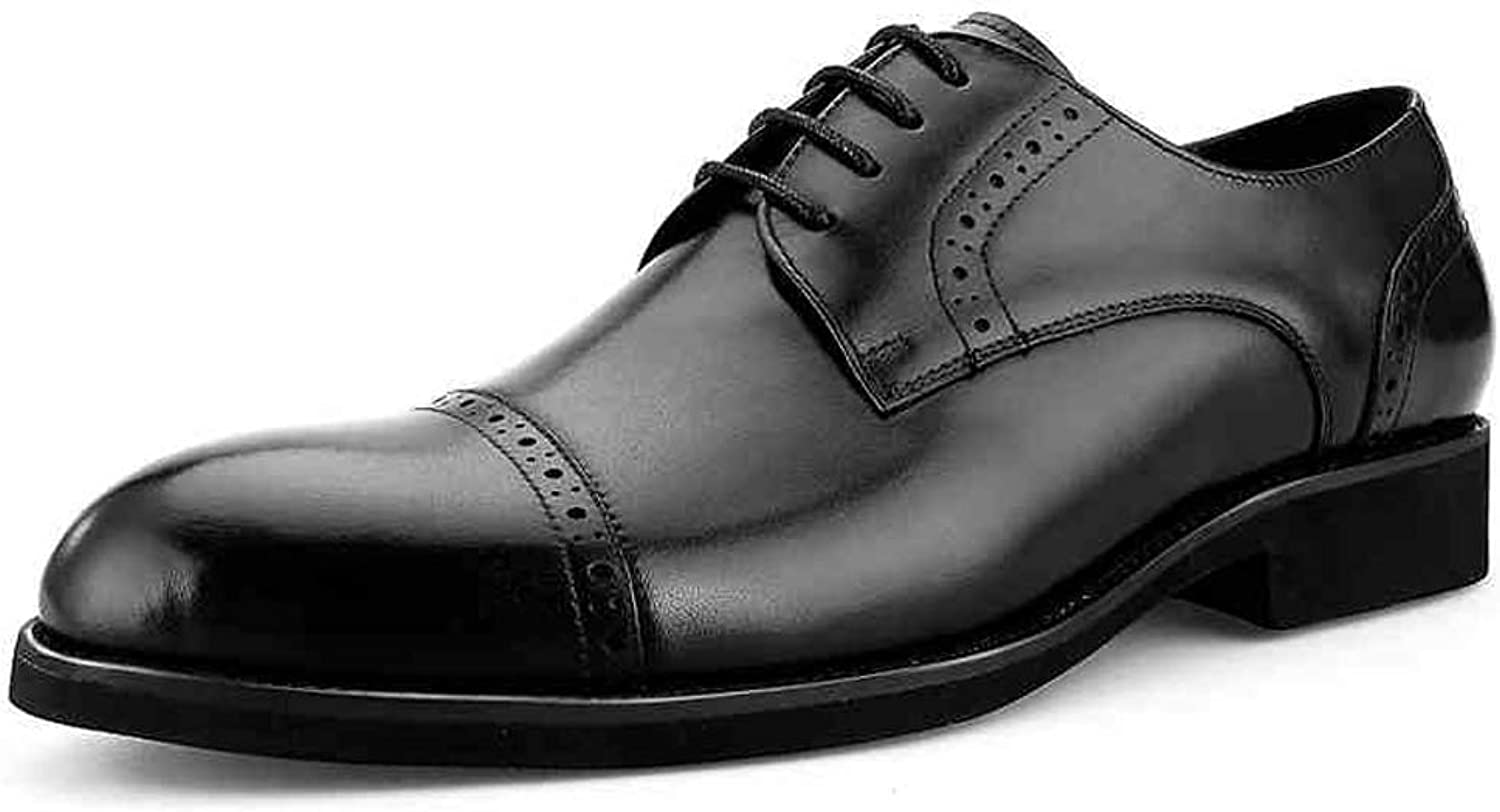 StickSeek Classic Genuine Leather Men's Derby Formal Dress Oxfords Carved Man Wedding Party Semi Brogue shoes