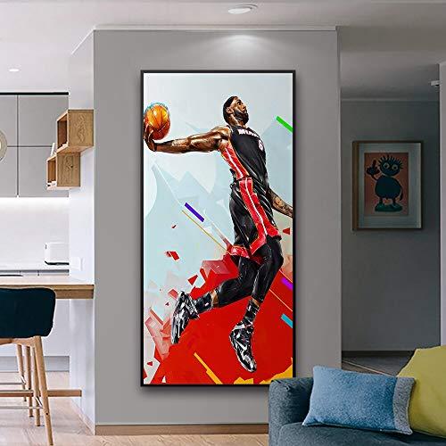 WIOIW Clásico NBA Baloncesto Deportes Super Star Player Lebron James Slam Dunk Layup Lienzo Pintura Arte de la Pared Póster Fans Dormitorio Sala de Estar Gym Club Decoración para el hogar