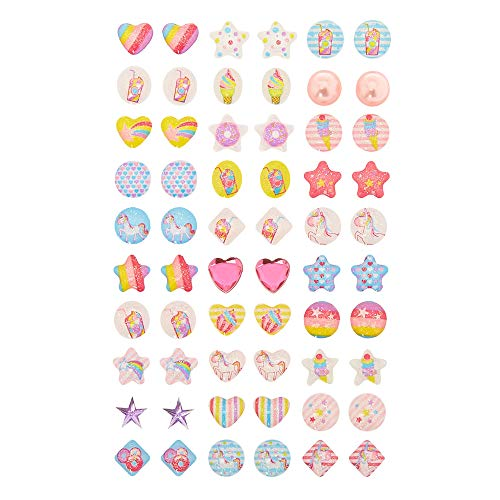Claire#039s Club Pastel Unicorn Stick On Earrings Cute Jewelry for Girls Assorted Styles Multicolor 30 Pack Product Name