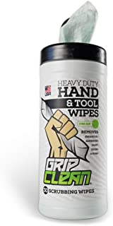 Grip Clean | Heavy Duty Hand Wipes & Tool Cleaner - Paint Remover + Grease, Oil, Odors - Scrubber Cleaning Wipes (30ct Tub)