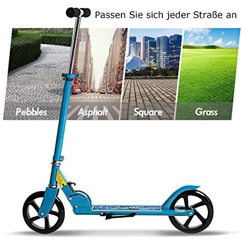 WeSkate City Roller Tretroller für Erwachsene, große Räder 205mm Klappbarer Cityroller Scooter Tret-Roller mit Doppel Federung für Erwachsene und Kinder ab 13 Jahre bis 100kg , Schwarz
