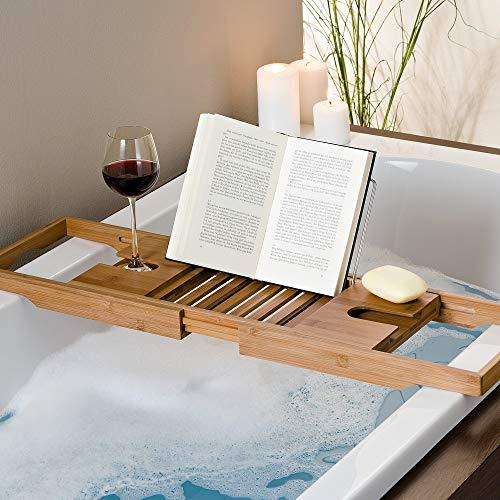 Badewannenablage mit Buchstütze und Glashalter - 3
