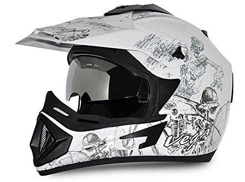 Vega Off Road Secret Full Face Helmet (White and Black, M)