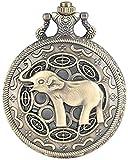 BEISUOSIBYW Co.,Ltd Collar 3D Lindo Nariz Larga Elefante Figura Retro Bronce Hueco Collar Cuarzo Reloj de Bolsillo Modo Colgante Relojes para Hombres Mujeres niños