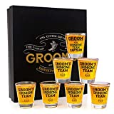 Groomsmen Gifts Groom's Drinking Team Shot Glasses - Pack of 6 Groom's Drinking Team Member + 1 Groom's Drinking Team Captain - 1.5 oz - Bachelor Party Favors