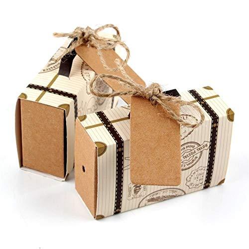 10pcs di nozze di carta di caramella del contenitore di regalo della valigia di corsa cioccolato dei regali borsa for visitatori favore di cerimonia nuziale di compleanno della decorazione del partito