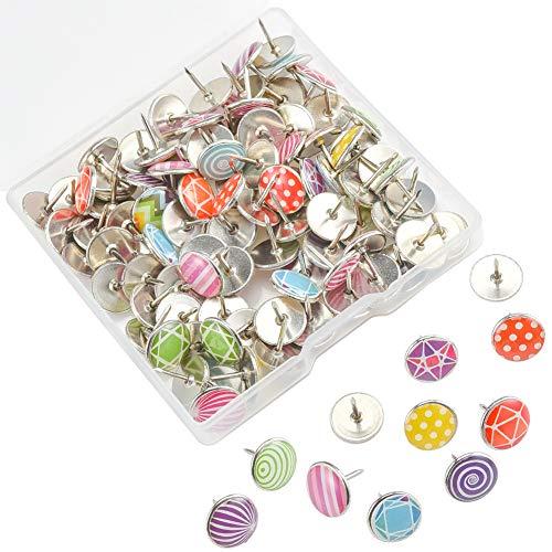 Irich 100 Stücke Mehrfarbig rund Reißnägel mit Plastikrundköpfen, Reißzwecke, Heftzwecken mit Metall Spitze in Hängebox für DIY Fotos Schule Büro Pinnwand Komponenten Blumendekoration