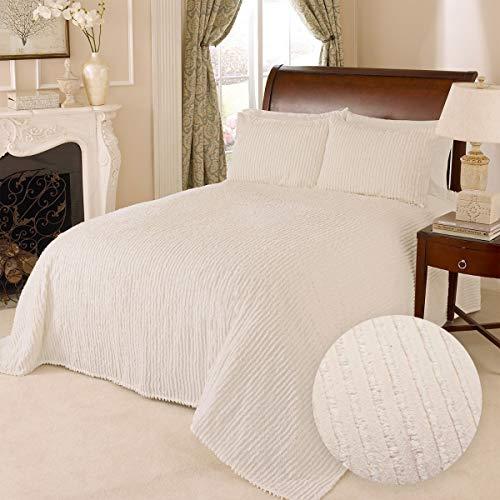 100% Cotton Tufted Chenille Stripe Textured King Bedspread Lightweight Bedding Coverlet, Ivory Cream