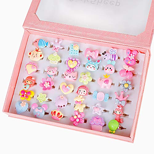 PinkSheep Little Girl Jewel Rings in Box, Adjustable, No Duplication, Girl Pretend Play and Dress Up Rings (36 Fashion Ring)
