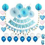 誕生日 飾り付け セット 風船 ガーランド デコレーション HAPPY BIRTHDAY きらきら 華やか おしゃれ ゴールド (青)