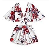Handyulong Women Rompers Chiffon Off Shoulder Floral Print Tops Shorts Two Piece Outfits Beach Jumpsuit for Teen Girls White