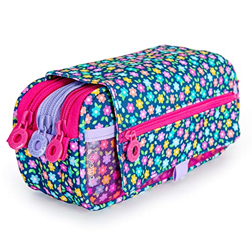 Estuche Portatodo Triple de Amplios Apartados Interiores con Cremallera Individual, Estuche para Material Escolar. (Girls T2)