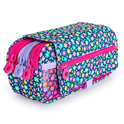 Estuche Portatodo Triple de Amplios Apartados Interiores con Cremallera Individual, Estuche para Material Escolar y Viaje (Girls T2)