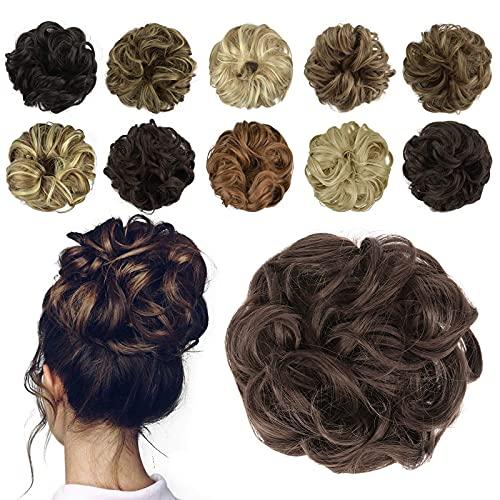 FESHFEN Postizo Coletero pelo, Moño Postizo Rizado Ondulado Postizo Recogidos Coletero para Mujeres Sintético Postizos de pelo, 55g