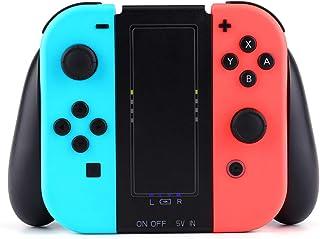 Nintendo Switch Joy-Con 充電グリップ ジョイコン 充電器 コントローラー 充電スタンド Joy-Con用 ハンドル 充電器 両機能 2台同時充電 急速充電 大容量 2000mAhバッテリー ( 2in1 黒 )