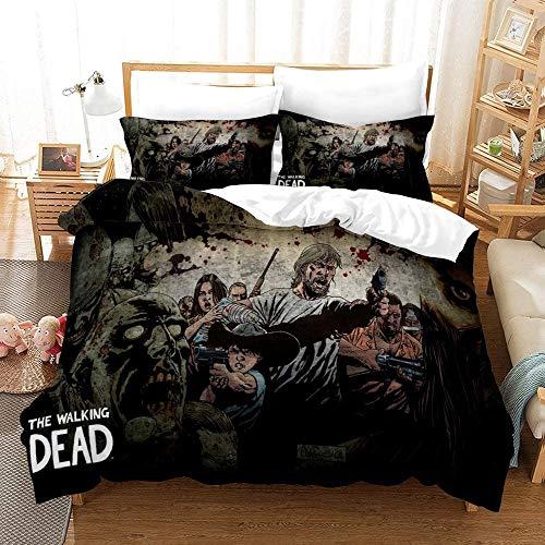 SL-YBB The Walking Dead Bettbezug Bettwäsche Set - Bettbezug und Zwei Kissenbezug,Mikrofaser,3D Digital Print dreiteiliger Bettwäsche (Q07,Single 135x200cm)