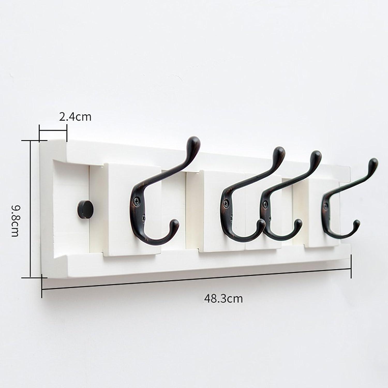 GJM Shop Wood + Zinc Alloy Clothes Hook Bedroom Wall Can Move Clothes Hooks Living Room Wall Hanging Coat Rack Door Back Row Hook (color   1, Size   48.3  2.4  9.8cm)