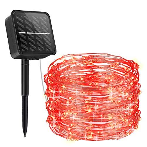 【2020 Newest】ORIA Solar Lichterkette, Außen Lichterkette 100 LED / 8 Modi Solar Gartenleuchten, 33ft (10M) Kupferdraht Solarleuchten für Weihnachten, Baum, Garten, Haus, Hochzeit, Party - Rot
