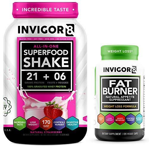 INVIGOR8 Superfood Shake (Strawberry) and Fat Burner Bundle. Gluten-Free and Non GMO Meal Replacement Shake & Healthy Garcinia Weight Loss Supplement/Appetite Suppressant.