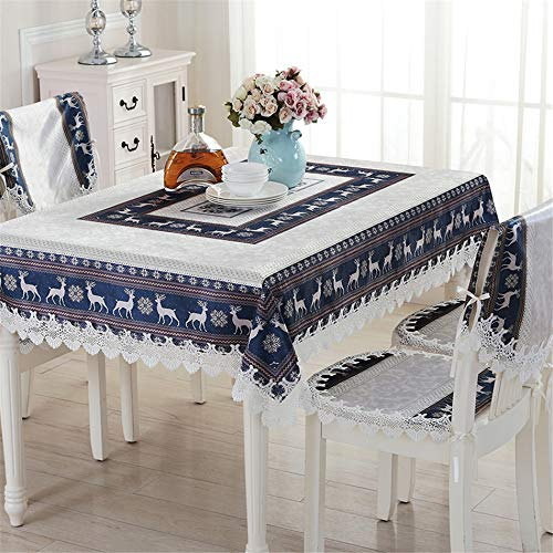 Telihome Tablecloth Embroidered Tablecloths Coffee Table Cloth Christmas Cartoon Tablecloths Chair Cover,Blue,130X130cm