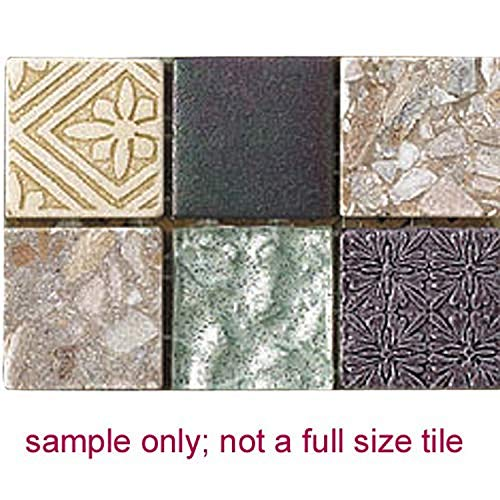 Intrend Tile HC005-A-sample Hand Colored Stone and Glass Mosaic Blend Tile Sheet, Sample, Grey, Dark Green & Tan Mix