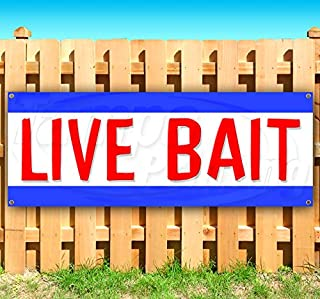 Live Bait 13 oz Heavy Duty Vinyl Banner Sign with Metal Grommets, New, Store, Advertising, Flag, (Many Sizes Available)